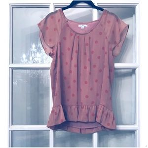 Orange Polka Dot Silk Peplum Sheer Shirt